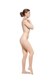 セクシーなフィット裸の女性、白で隔離