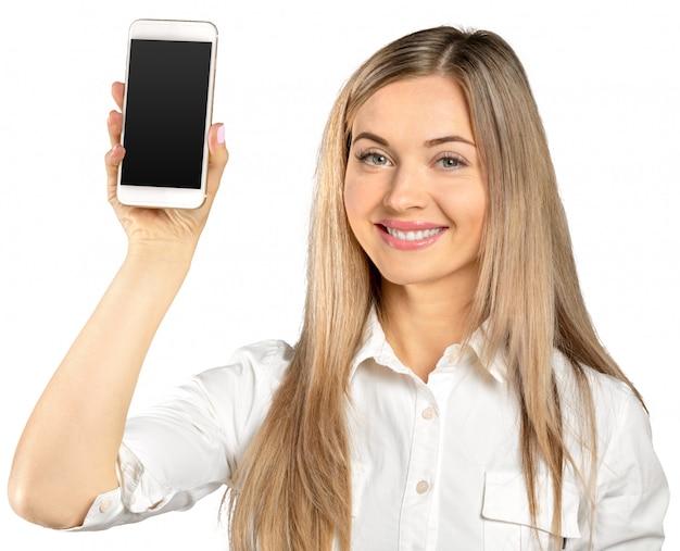 白で隔離され、携帯電話で成功した実業家