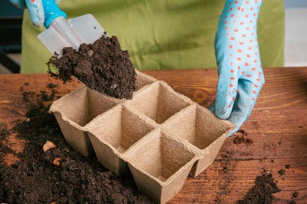 ツールを使用して家で植物を配置する女性の庭師