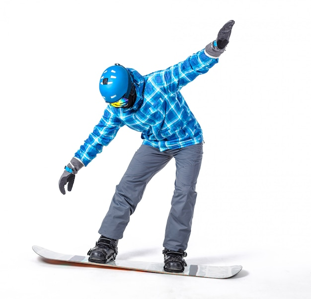 白で隔離スノーボードとスポーツウェアの若い男の肖像
