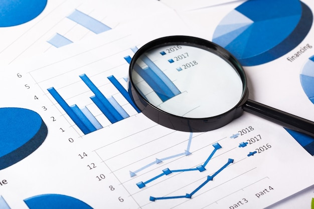 Бизнес графики синие