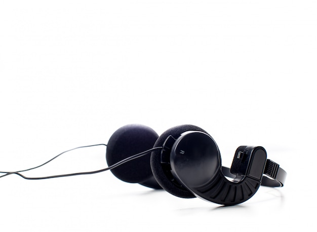 ヘッドフォン。白で隔離