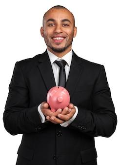 黒のビジネスの男性と貯金箱