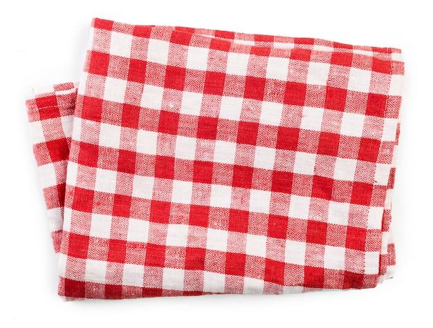 白で隔離赤い折り畳まれたテーブルクロス