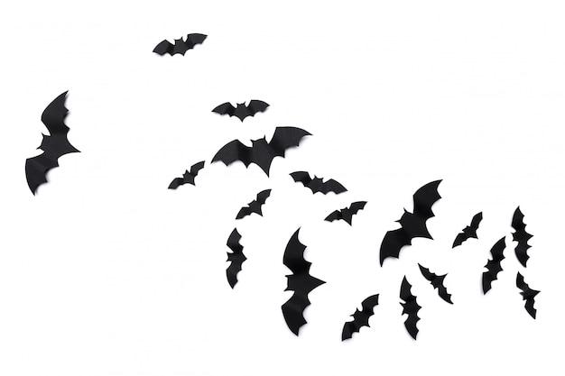 ハロウィーンと装飾紙コウモリの飛行