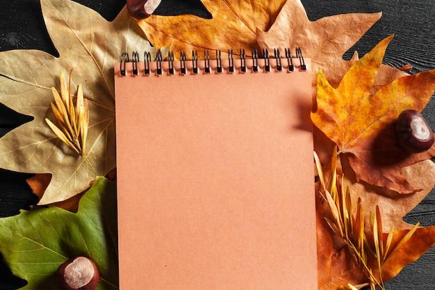 秋の葉に囲まれた空白のノートブック