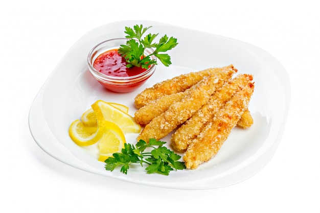 鶏胸肉の揚げナゲットとソース