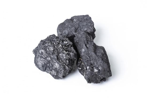 白で隔離される天然木炭