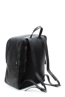 白で隔離される男性のハンドバッグバックパック