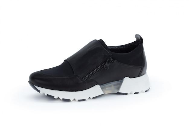 白で隔離フラットソール女性靴