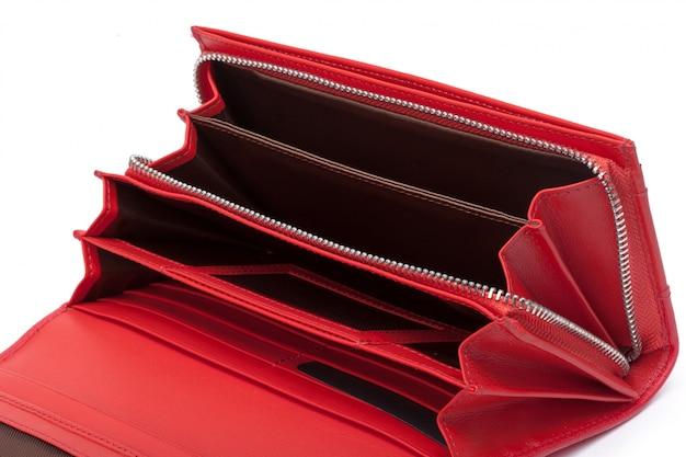 白で隔離される女性の革財布財布