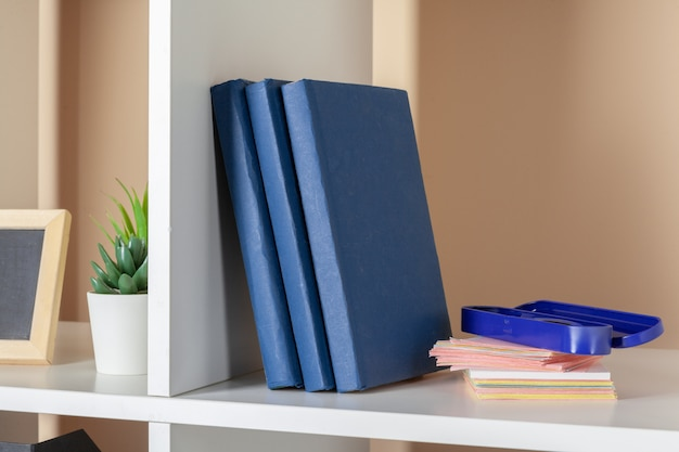 Папки с файлами, стоящие на полках в офисе