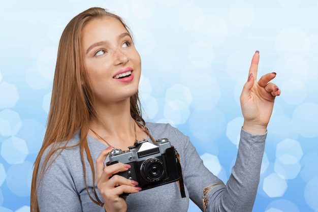 Женщина фотографа камеры