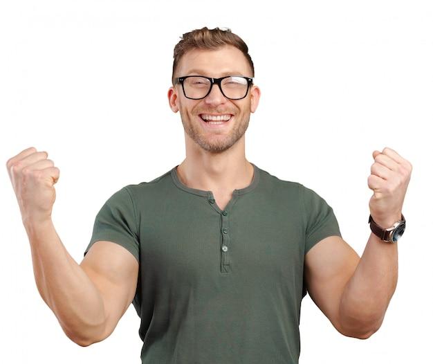 彼の勝利を祝うを腕で成功した実業家
