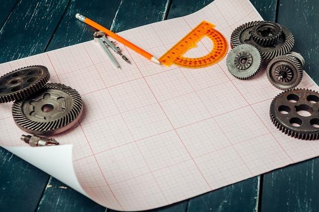 グラフ用紙上の車の部品をクローズアップ。エンジニアリング