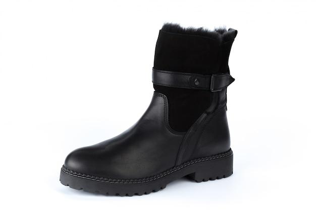 分離された冬の女性の革のブーツ