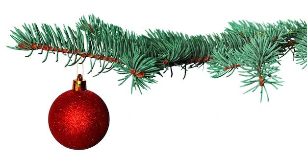 白で隔離されるモミの枝でクリスマスボール