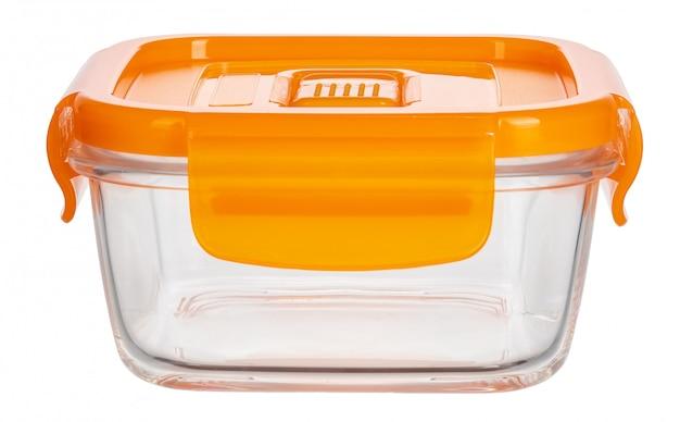 Закройте вверх стеклянных пищевых контейнеров изолированных на белизне