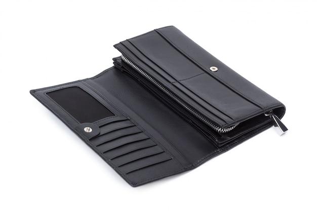 白い背景で隔離の女性の革財布財布