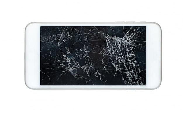 白い背景に分離された破損した画面を持つスマートフォン