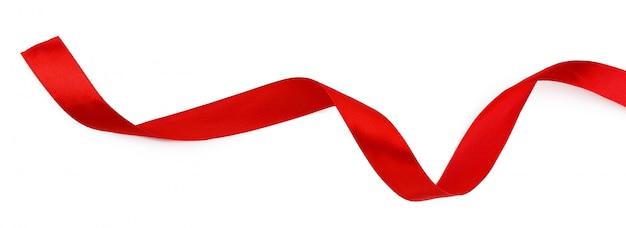 白い背景で隔離赤いリボン