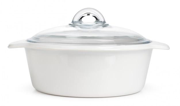 分離された白いセラミック鍋