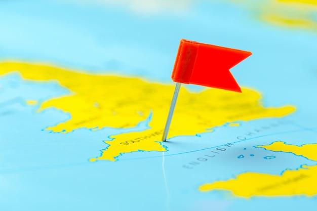 地図上の旅行先ポイント
