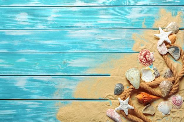 Морская веревка с множеством различных морских раковин на морском песке