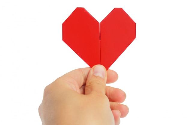 折り紙の心。バレンタインデーのシンボル