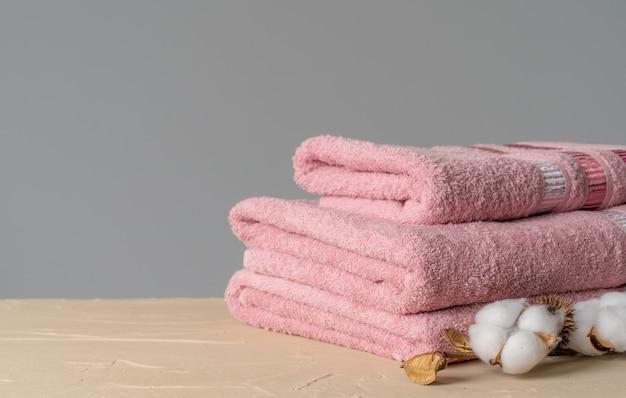 Хлопковые мягкие полотенца, вид спереди, копия места