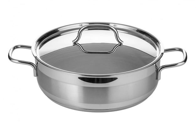 白い背景に分離されたステンレス鋼の鍋