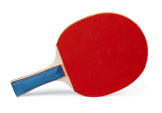 白い背景で隔離の卓球ラケット