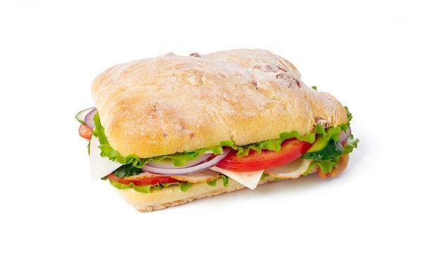 白い背景の上のサンドイッチ