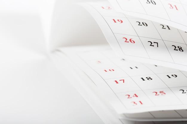 カレンダーページはビジネス時間の概念を閉じる