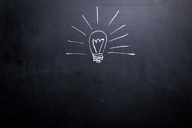 黒板にチョークで描かれたアイデア
