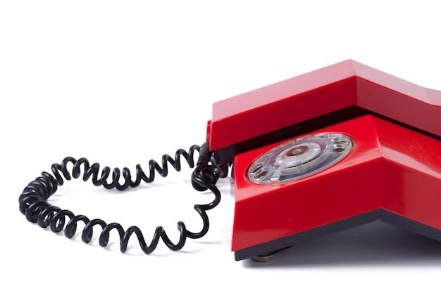 白地に赤の古い電話