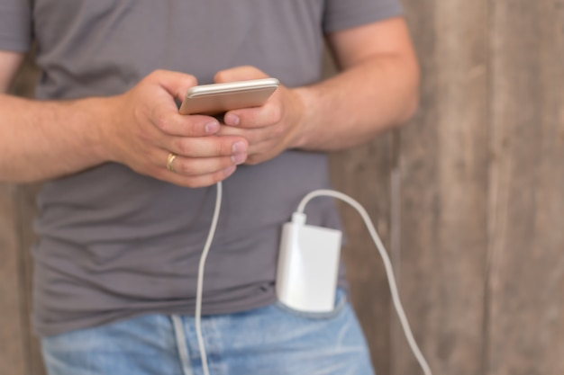 パワーバンクでのスマートフォンの充電