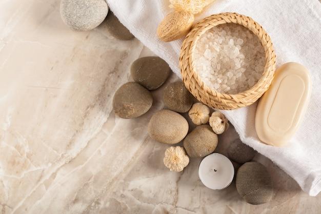 Спа натюрморт с камнями спа