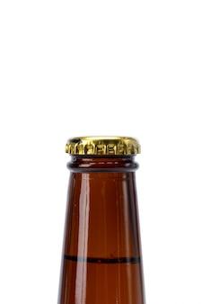 白い背景の上のビールの瓶