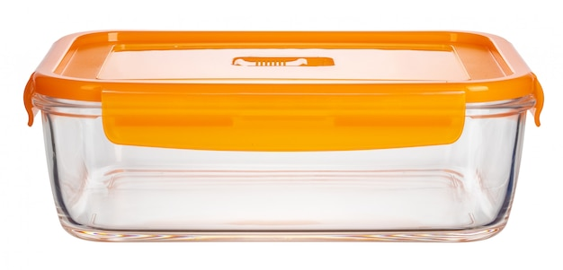 白い背景に分離されたガラス食品容器のクローズアップ