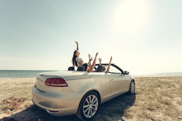 海のそばの車を運転して楽しんで友達に笑顔