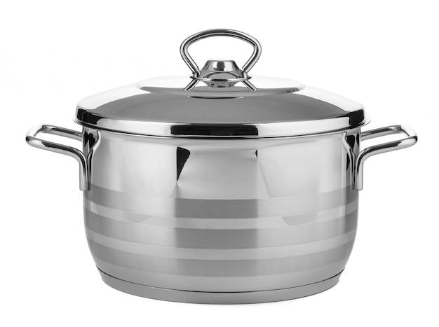 白い表面に分離されたステンレス鋼の鍋