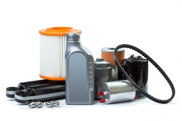 車のオイルフィルターとモーターオイル缶分離