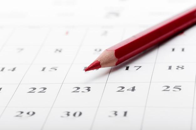 ビジネスカレンダーのコンセプトで日付を確認する