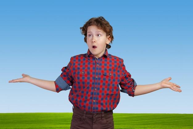 Мальчик-подросток пожимает плечами в растерянности