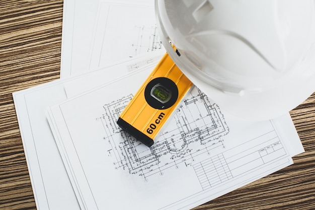 Чертежи проекта и инструменты, крупный план