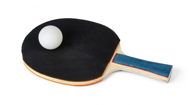 白で隔離される卓球ラケット