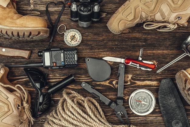 旅行ハイキング用具、上からの眺め
