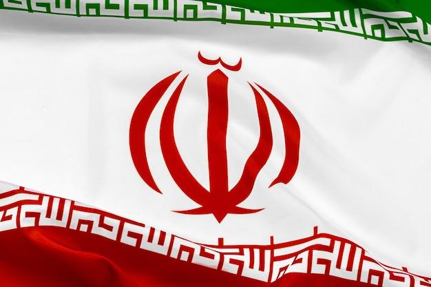 イランの布旗の写真をクローズアップ