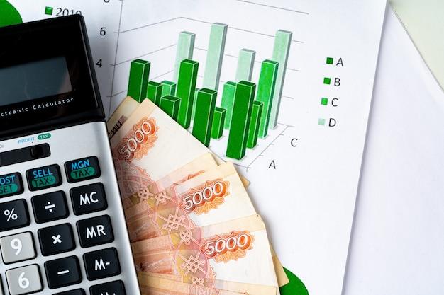 計算機とロシアルーブルのお金スタックと財務チャート。通貨高騰の概念